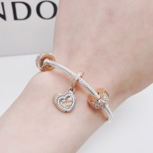 rose gold pandora bangle